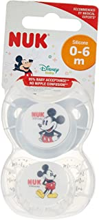 NUK Trendline Orthodontic Silicone Soother, Disney Mickey Mouse and Minnie Mouse, Pack of 2