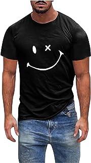 QiFei Heren ronde hals bovendeel tops basic mannen T-shirt heren casual shirts heren fitness tops smile print korte mouwen...