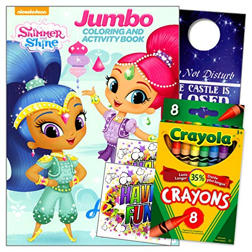 Shimmer and Shine Coloring Book and Crayons Bundle Includes Separately Licensed GWW Reward Stickers and Doorhanger for Girls