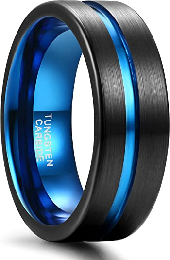 SHINYSO Mens Wedding Band 6mm 8mm Tungsten Rings for Men Women Blue/Black/Rose Gold Center Groove Matte Finish Comfort Fit Size 6-13