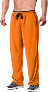EKLENTSON Men's Tracksuit Bottoms Mesh Jogging Sweat Pants with Zipper Pockets Open Bottom Athletic Pants Loose Fit