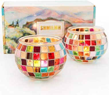 SHMILMH Mosaic Round Glass Candle Holder Set of 2 Handmade Tealight Holders Bulk Table Centerpiece for Home Bar Restaurant De