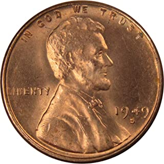1949 S 1c Lincoln Wheat Cent Penny US Coin Uncirculated Mint State