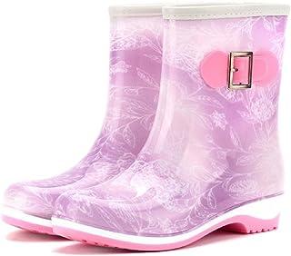 [BINGO商店] レインシューズ レディース 無地 ショート ブーツ 長靴 レインブーツ ミドルブーツ シンプル デザイン