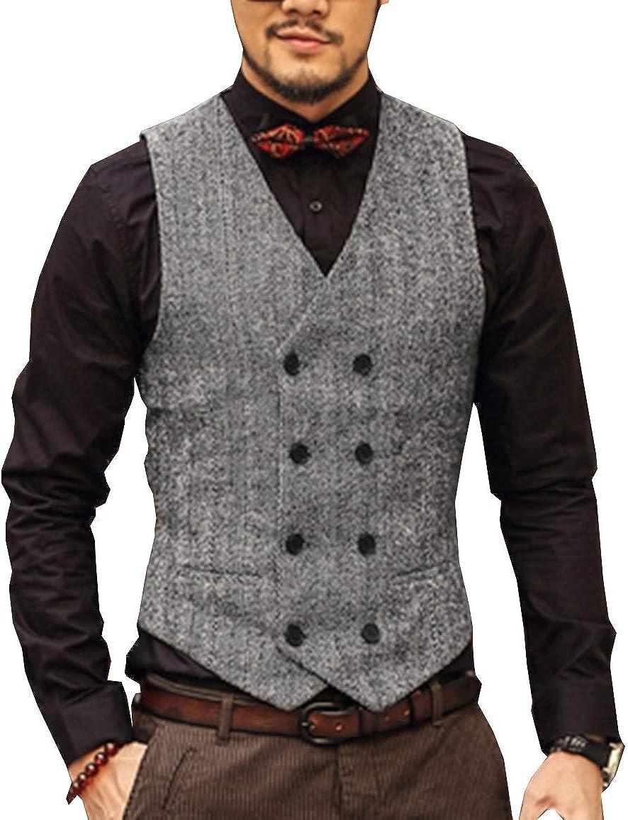 PrettyGirl Dress Men's Leisure Double Breasted Suit Vest Slim Fit Wool Tweed Solid Waistcoat for Wedding