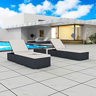 Festnight Set of 2 Outdoor Patio Wicker Chaise Lounge Chairs with 1 Side Table, Sun Lounger Set, Comfortable Cushions, Poly Rattan Black