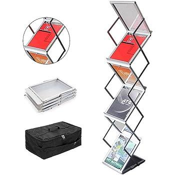 Expositor plegable aluminio, con maleta de transporte, 6 niveles, A4 Deflecto