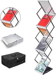 Guohong A4 Présentoir à Brochure, Aluminium Portable Exhibition littérature support de sol, Porte-revues Trade Show, Avec ...