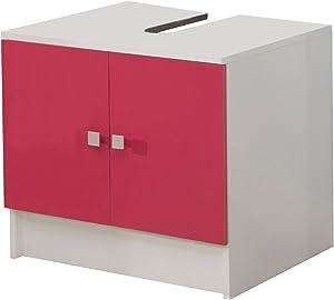 Symbiosis 6044A2136A17 - Mueble Lavabo (2 Puertas), Color Blanco y Fucsia