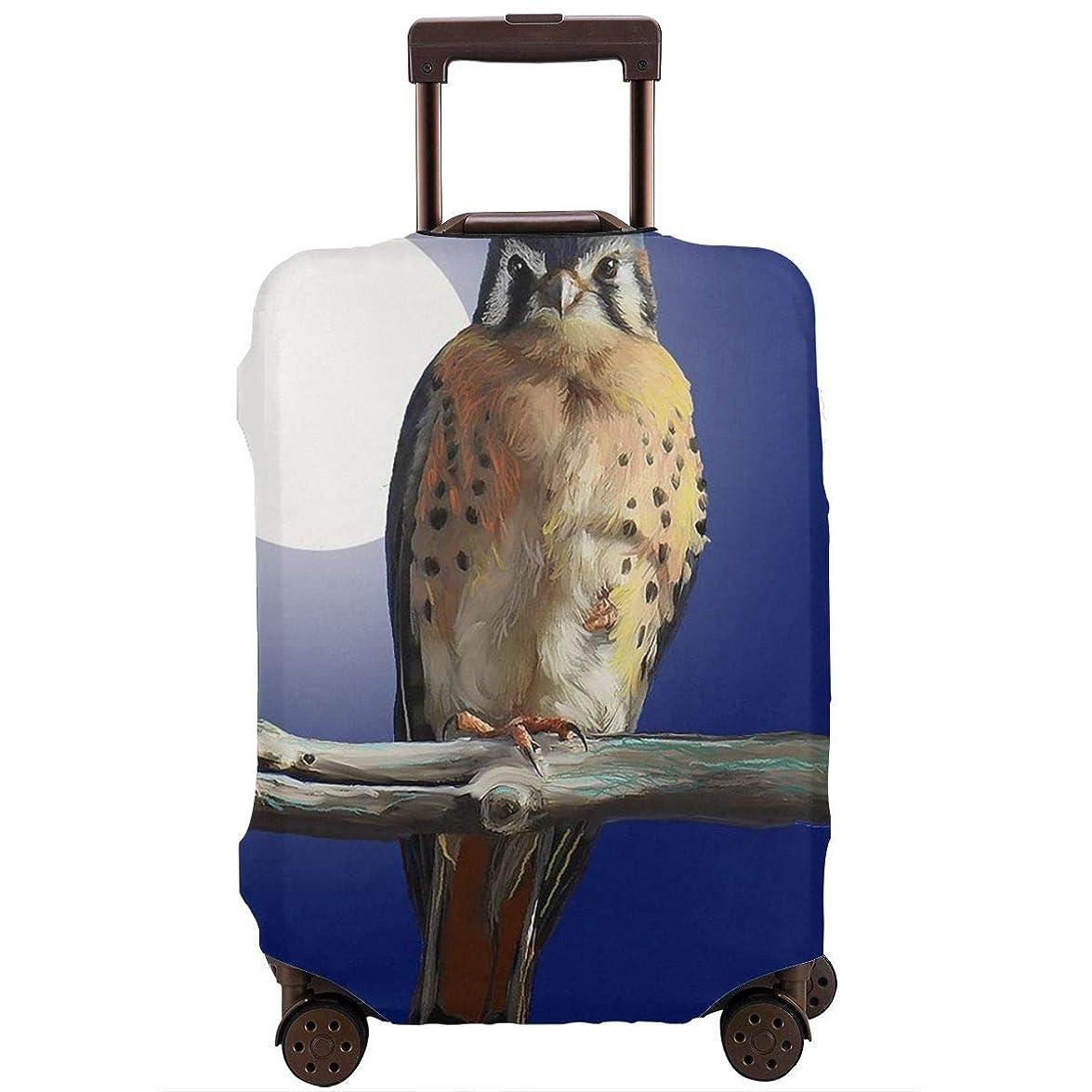 可能性ガード昇るレッドカラー スーツケースカバー ラゲッジカバー キャリーカバー 鳥と月 防塵カバー トランクカバー 旅行用品 トラベルダストカバー