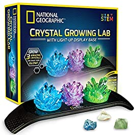 NATIONAL GEOGRAPHIC Crystal Growing Kit – 3 Vibrant Colored Crystals to Grow with Light-Up Display Stand & Guidebook, Includes 3 Real Gemstone Specimens Including A Geode & Green Fluorite