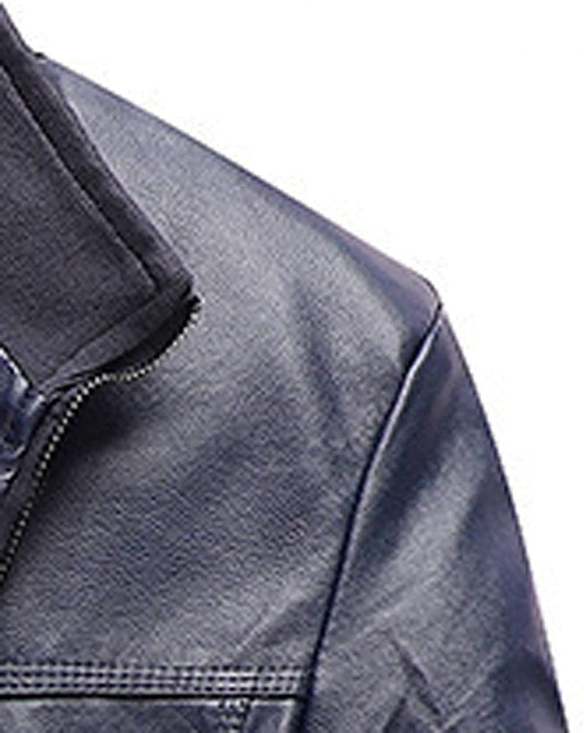 Men's Vintage Stand Collar Pu Leather Jacket Casual Slim Fit Zip-Up Biker Motorcycle Thick Faux Leather Outwear