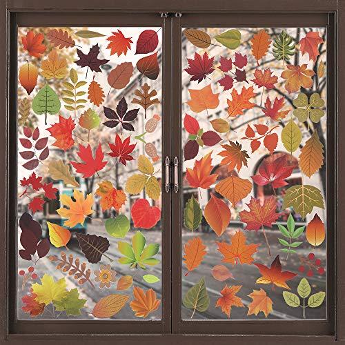 Qualsen Herbst Blätter Fensterbilder Erntedankfest Fensteraufkleber Thanksgiving Herbstdekoration Aufkleber Herbst Ahorn Dekorationen (Muster 1)