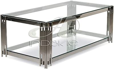 Indiskie Glass Top Coffee Table with Stainless Steel Metal Base Living Room Furniture