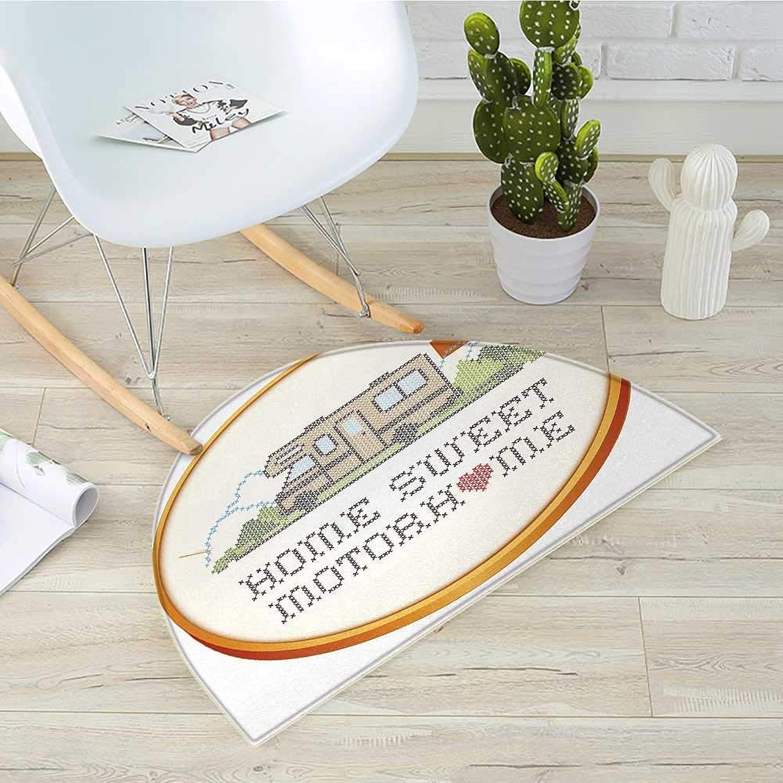 Home Sweet Home Semicircle Doormat Embroidery Hoop Cross Stitch Needlework Sewing Design Trailer Home Print Halfmoon doormats H 35.4  xD 53.1  Multicolor