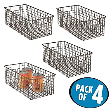 mDesign Farmhouse Decor Metal Wire Food Organizer Storage Bin Baskets with Handles for Kitchen Cabinets, Pantry, Bathroom, Laundry Room, Closets, Garage - 16 x 9 x 6 in. - 4 Pack - Bronze