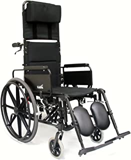 Karman KM5000F18 Aluminum Lightweight Reclining Wheelchair, Black, 24 Inches Rear Wheels and 18 Inches Seat Width