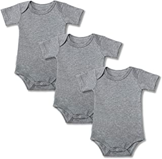 Baby Onesies 100% Cotton Short Sleeve Baby Bodysuits Solid Color Infant Bodysuits for Newborn Baby 3-Pack