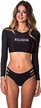 RELLECIGA Women's Swim Shirt Rashguard Short Long Sleeve Crop Top with Triple Bikini Bottom