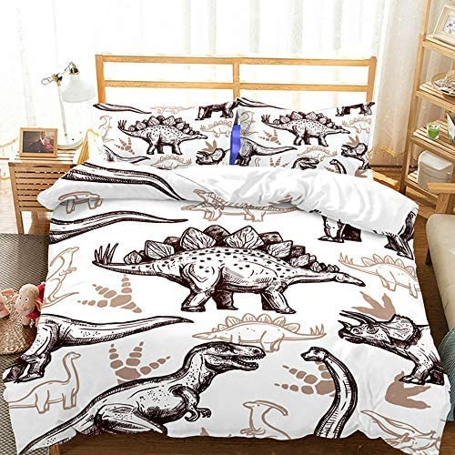 ZHH 3 Pcs Dinosaur It is very popular Duvet Cover Sets Kids' Now free shipping 3D Twin An Bedding Set