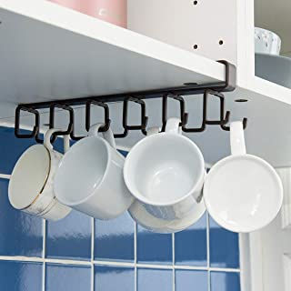 IDEALCRAFT Mug Hooks Under Cabinet Hanging Holder for Mugs, Coffee Cups and Kitchen Utensils Display, 12 Hooks Suitable for Board Thickness Less Than 0.9 Inch, Brown