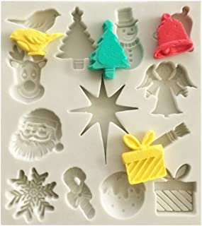 Efivs Arts Christmas tree/Santa Claus/Elk/Snowflake/Bell/Christmas Gift Shaped Fondant Silicone Mold Sugar and Gum Pastefor Craft Cake Silicone Molds Tools forChristmas Party Cake Decoration