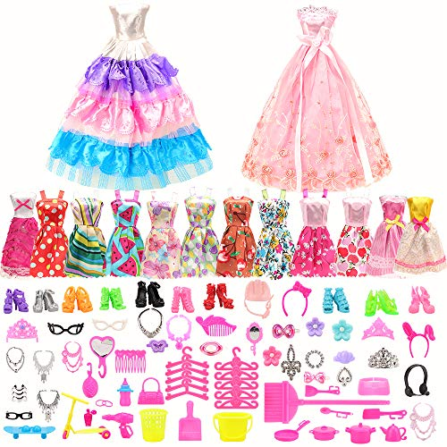 Miunana 125 pcs Doll Fashion Clothes Set for 11.5 inch Doll, Include 13 Random Skirt + 2 Wedding Party Banquet Dress + 110 Doll Accessories Shoes Bags Necklace Bicycle ect. (Not Include Doll)