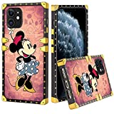 CUTECRUT Case for iPhone 11 Disney Pink Minnie Mouse Square 360 Degree Protective Case Luxury Elegant Flexible Soft TPU Anti-Scratch Protective Cover for iPhone 11 (2019) 6.1 Inch(Minnie Mouse)