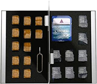 [BlueCraft] 最新nanoSIM・microSDカードをたっぷり収納 全21枚収納 SIM・SDカードアルミケース SIMカード変換アダプタセット付属 (ブルー)