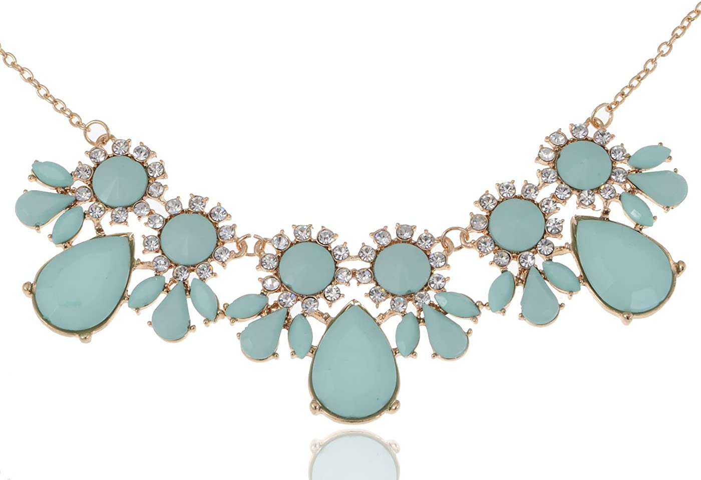Alilang Women Gold Pastel Colored Blue Foral Leaf Clear Rhinestone Teardrops Sunflower Collar Necklace