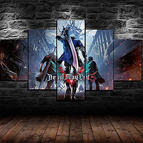 5 Piezas Lienzos Cuadros Pinturas Devil May Cry 5 Dantemodernos Impresión Imagen Artística El Arte Pared del Hogar Salón Oficina Decoración Sin Marco