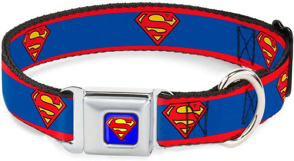 Buckle-Down Seatbelt Buckle Dog Collar - Limited time cheap All items in the store sale Shield Stripe Superman