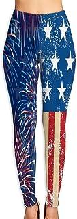 Cyloten USA Flag Firework 2020 Yoga Pants Vivid Printed Women's Non-Fading Sportswear High Elastic Leggings