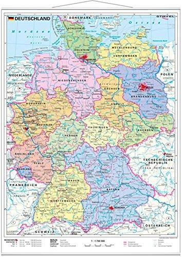 Stiefel EUROCART Deutschlandkarte Deutschland politisch, 47 x 58 cm mit Metallleiste