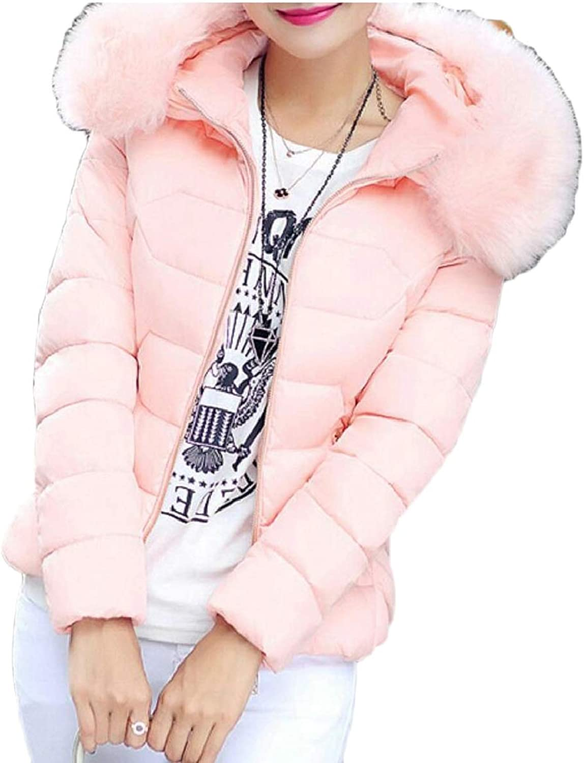SmeilingCA Women's Quilted FauxFur Collar Thicken Parka Hoodies Down Jacket Coat