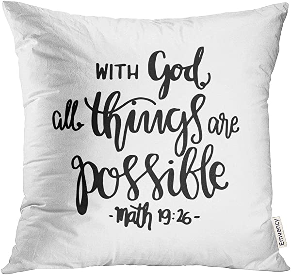 Golee Throw Pillow Cover Religious All Things Are Possible Quote Modern Calligraphy Bible Verse Faith Believe Decorative Pillow Case Home Decor Square 18x18 Inches Pillowcase