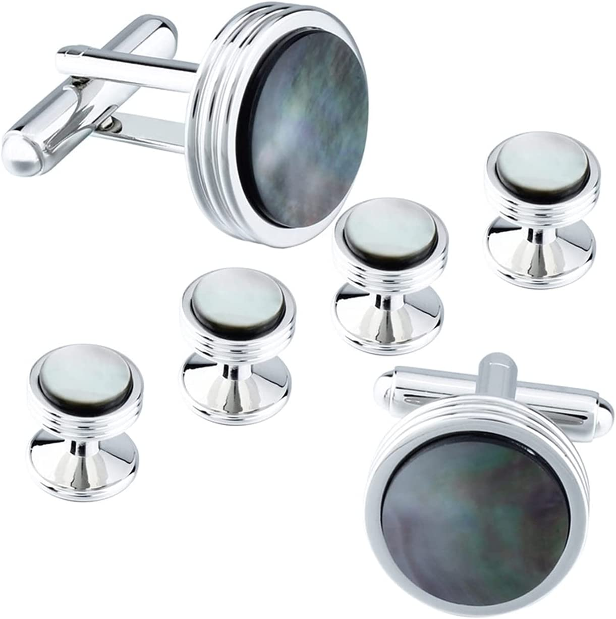 FANDA Tuxedo Shirt Cufflinks Studs Set Grey Shell Cuff Links for Mens Accessories with Box (Color : Yellow Shell)