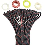 SURVIVAL Paracord Parachute Fire Cord Survival Cord Fire Paracord Tinder Fire Starter/PE Fishing Line/Cotton Thread 380LB Commercial Grade (BlackRed, 100 Feet)