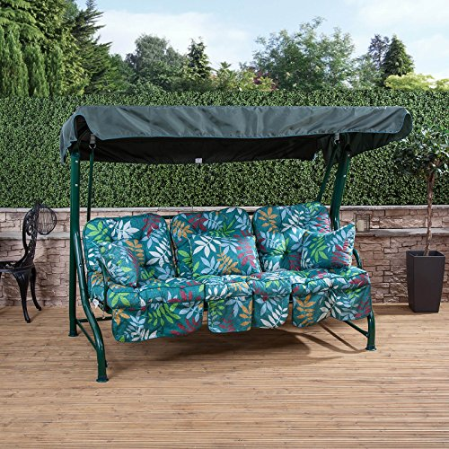 Roma 3 Seater Swing Seat - Green Frame with Classic Alexandra Green Leaf Cushions