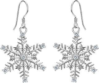 EVER FAITH Women's 925 Sterling Silver CZ Winter Party Snowflake Hook Dangle Earrings Clear