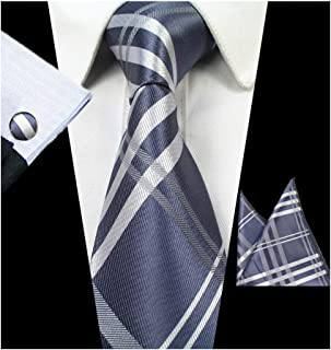 Men's Plaid Handkerchief Ties Set Woven Suit Necktie Cufflinks Pocket Square Set