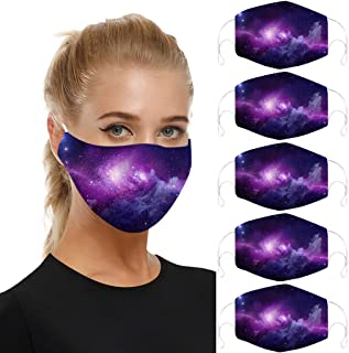 5PC Wind Cloth Printing Reusable Face Nose Mouth Cover with Adjustable Earloops Dust Mouth Mask for Women Men Aadiju