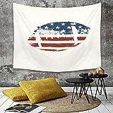 Tapisserie Murale Hippie Décoration Tenture Couverture Pique,Sports, Ballon de rugby sur le thème du drapeau américain grunge sur le thème du desi,Nappe Serviette de Plage Yoga Indienne Tapestry