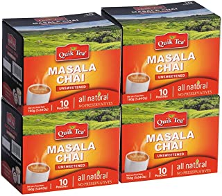 QuikTea Unsweetened Masala Chai, 40 count (4 boxes of 10 each)
