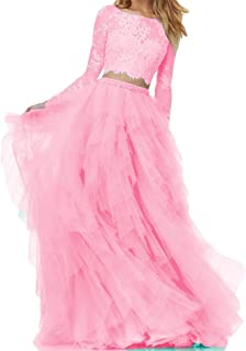 Women's Prom Dress For Juniors Long Sleeves 2 Piece Plus Size B280