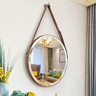 XZPENG Wall Mirror for Bathroom HD Round Decorative Mirror Leather Ornaments with Hook (Size : 60cm)