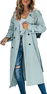 Makkrom Women's Double Breasted Long Trench Coat Windproof Classic Lapel Slim Overcoat with Belt