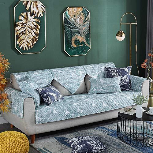 YUTJK Cubierta de sofá de algodón Impreso Lavable,Cojín de Sofá Universal de Cuatro Estaciones,Cojín de Protección de Sofá,Funda de Asiento de Tela,Hoja de Banana_70×150cm