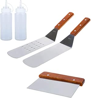 5 Piece Professional Grade Stainless Steel BBQ Grill and Griddle Spatulas Tool Kit Great for Grill Griddle Flat (2 Spatula...