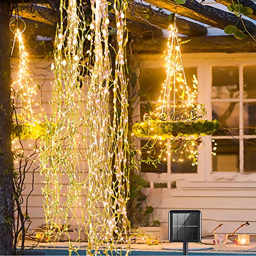 Yugocom Solar Firefly Bunch Lights 220 LEDs Waterfall Copper String Lights 8 Flashing Modes,Solar Fairy Lights Outdoor Waterproof for Christmas Wedding Party Home Garden Decorations(Warm White)